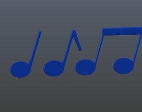 3D model music Musical notes