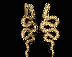 platinum Earrings snake 3D print model