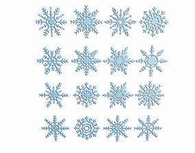 3D model Snowflakes set holiday