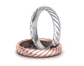 Braided Rope Band ring 4mm wide 3dmodel jewelry