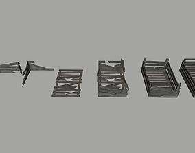 Old wooden boxes 3D model