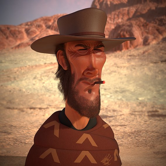 Clint Eastwood 3D caricature