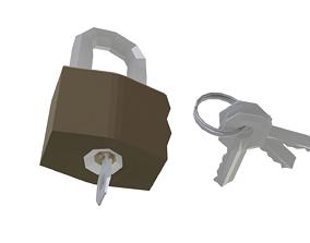 3D model Low Poly Key Lock Padlock