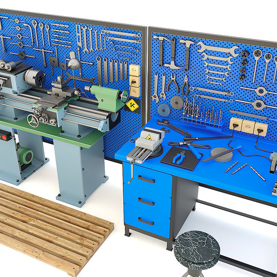 Industrial workbench garage tools and turning machine - 30 Items