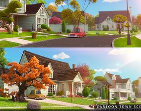 3D model Cartoon Town Home Exterior Scene