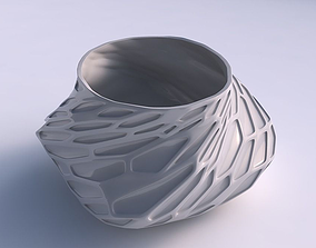 3D printable model Bowl twisted elipse with organic dents
