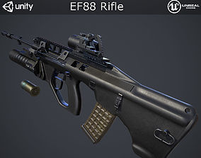 3D model rigged EF88 Rifle