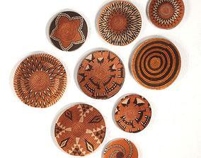 Wicker African wall baskets from Botswana 3D model