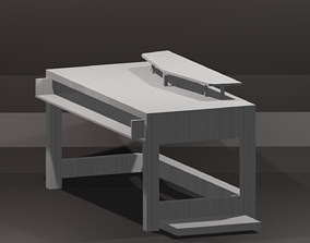 PC Table Bench Low-poly 3D model VR / AR ready