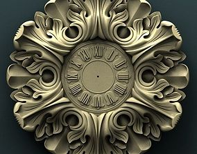 carved Wall clock 3d stl model for cnc