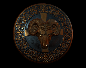 Shield with ram head 3D asset