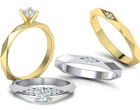 Facet Diamond Rings Wedding Set 3dmodel