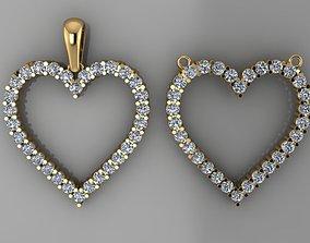 3D print model Dainty Diamond Heart Pendant Larger Size