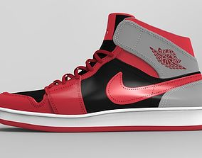 Air Jordan Mid 1 Red 3D