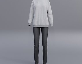 sweatshirts and black denim pants 3D