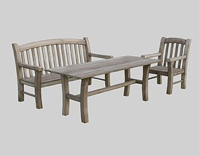 Furniture outdoor - aged wood 3D asset