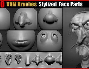 3D model Zbrush VDM Brushes Stylized Face Parts