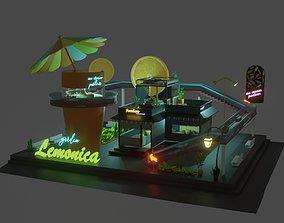 Stylized cartoon garden 3D asset