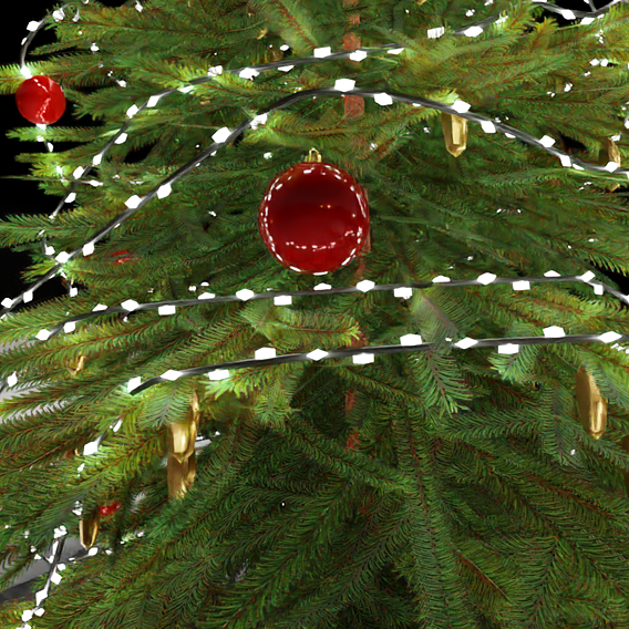 Low-Poly Christmas Tree Indoor Version 2 (Blender-2.91 Cycles Render)