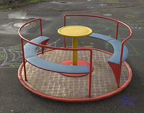 game-ready 3D low poly PBR playground carousel