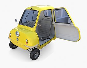 Peel P50 Yellow with interior and chassis 3D model