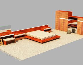 The bedroom furniture 3D asset