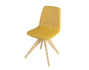 Chair TORSO 837-I POTOCCO Mustard leather and natural 3D