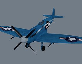 game-ready Spitfire low-poly 3D model