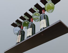 wine bottle and wine glasses 3D model