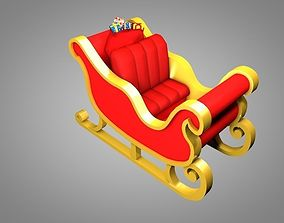 Santa sleigh 3D asset game-ready