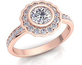 3D print model Fancy Halo Diamond Ring
