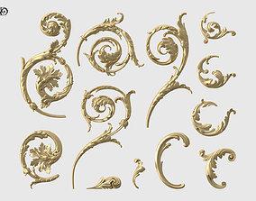 moulding Acanthus Leaf Scroll Set 3D printable model