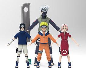 Naruto team 7 3D asset