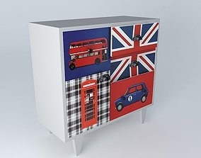 3D model LONDON gray cabinet houses the world