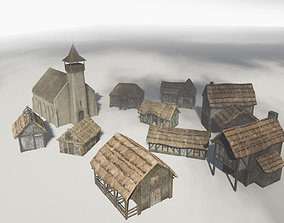 Medieval buildings pack 3D model VR / AR ready