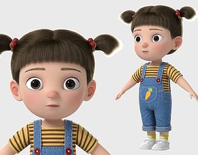 Cartoon Girl NoRig 3D model family