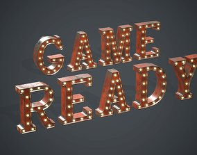 3D model Old Marquee Metal Letters PBR Game Ready