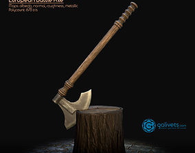 3D model low-poly European Battle Axe