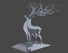 3D asset Deer Statue Low-Poly