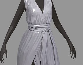 3D asset poly art women summer long grey dress white 2