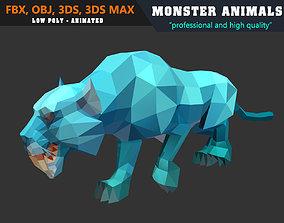 Low Poly Jaguar Cartoon Monster 3D Model animated 3