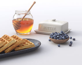 3D Butter Waffles Breakfast