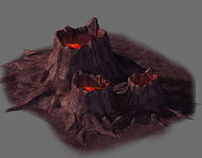 Game model - volcanic tree - shaped magma mouth 02