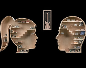 3D model Wall Library