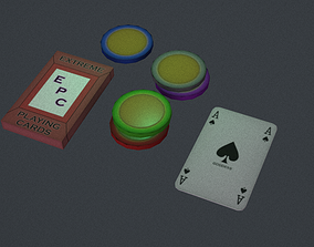 3D asset Casino chips with card deck