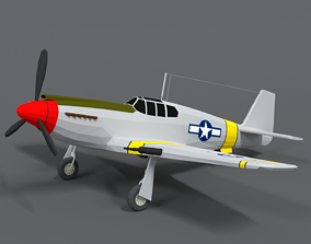 3D asset Low Poly Cartoon North American P-51 Mustang