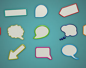 game-ready speech bubble frame Photo realistic Low poly 4