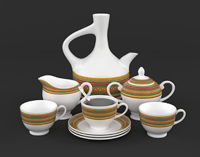 Coffee Cup and Saucer Set 3D