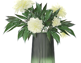 3D asset VR / AR ready Bouquet of peonies in a glass vase