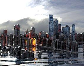 3D Cityscape ocean scene